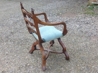 mid 19th century X framed walnut arm chair side