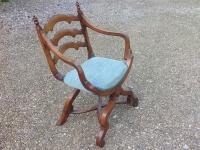 mid 19th century X framed walnut arm chair