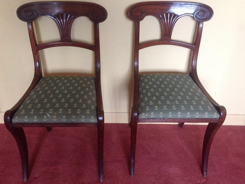 Pair Regency mahogany sabre leg chairs