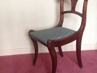 Mahogany sabre leg chair one of pair