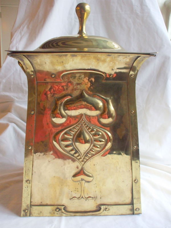 art nouveau brass coal box front view