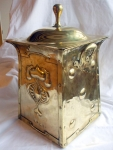 art nouveau brass coal box side view