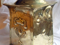 art nouveau brass coal box side view