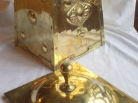art nouveau brass coal box lid