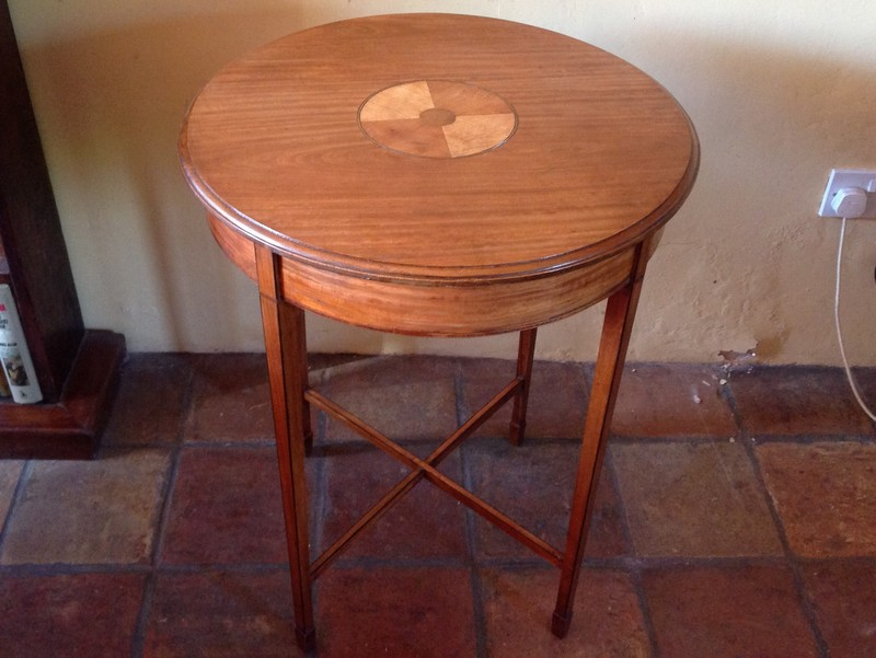1-Antique circular satinwood lamp table