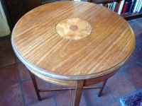 1-Antique circular satinwood lamp table - detail of top