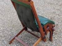 Antique leather campaign chair back