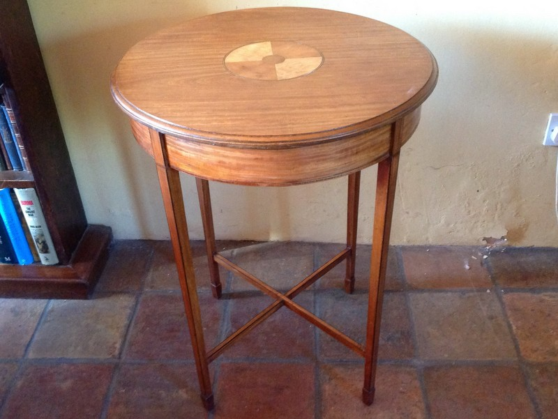 1-Antique circular satinwood occasional table in the Georgian revival style