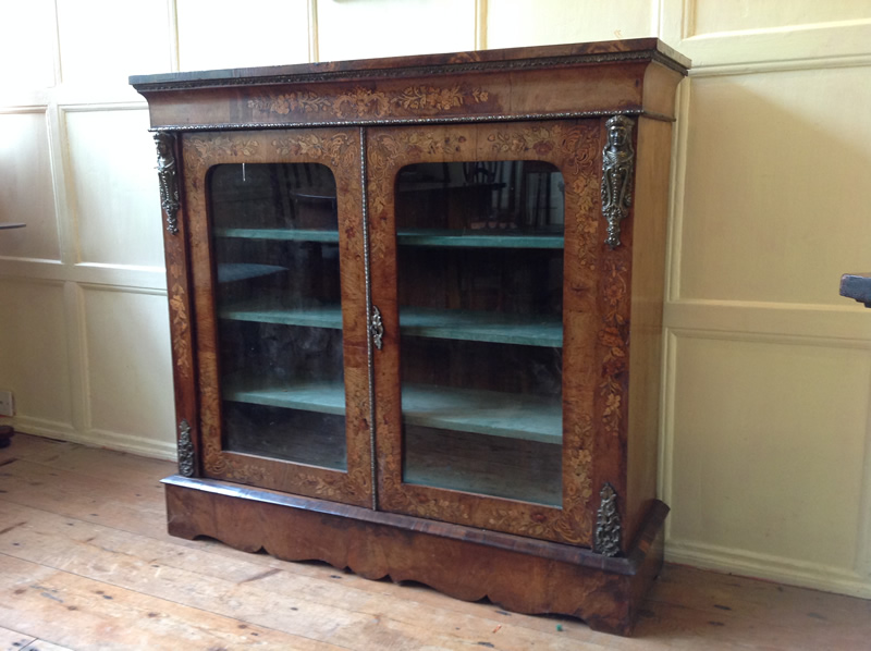 19th Century walnut pier cabinet front 3