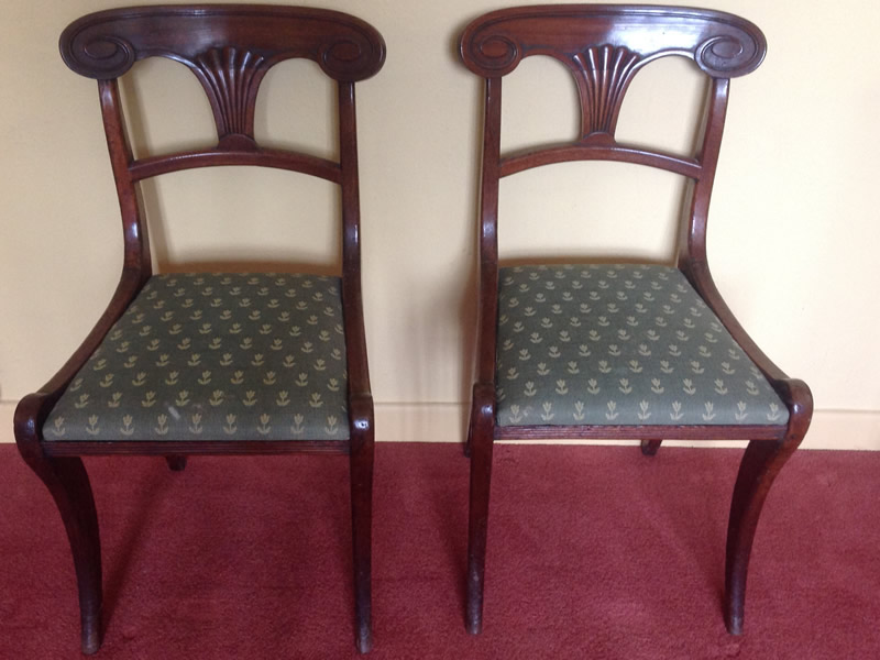 Pair Regency mahogany sabre leg chairs
