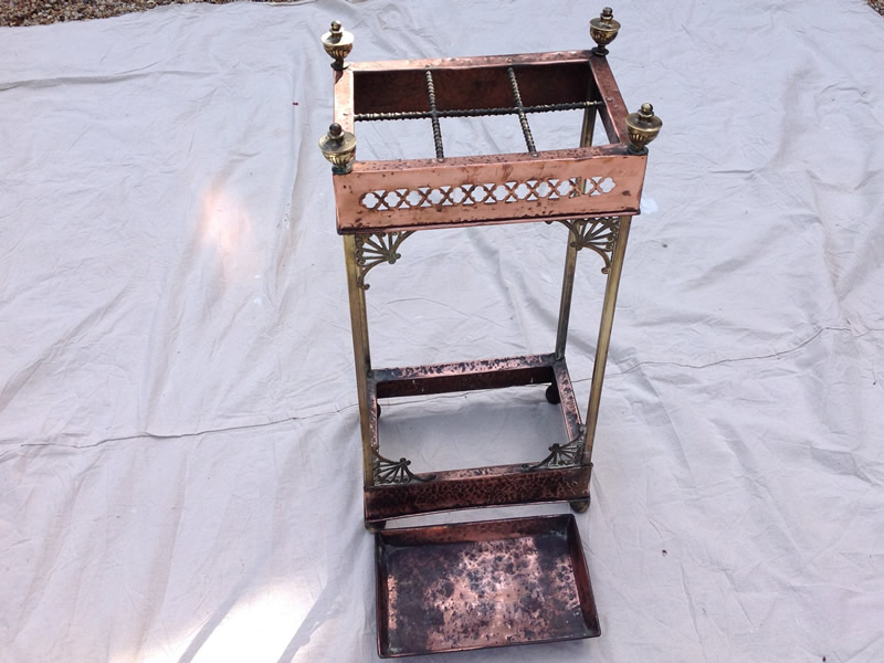 Arts and Crafts copper and brass Stick Stand