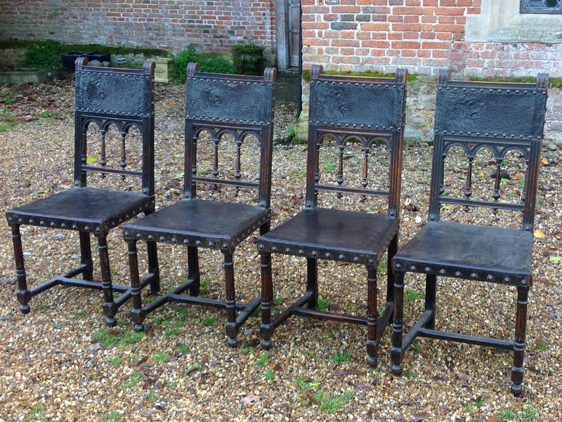 1-Four Antique French walnut and leather chairs