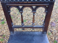 1-Antique French walnut and leather chair - detail