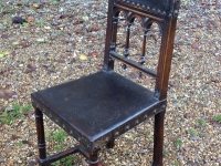 1-Antique French walnut and leather chair