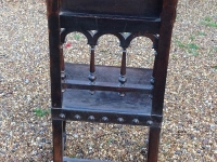1-Antique French walnut and leather chair - back