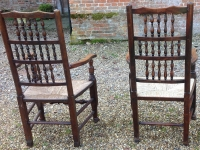 Antique ladder back arm chairs