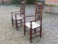 Antique ladder back chairs with rush seat