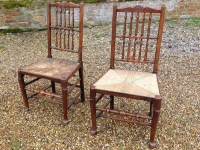 1 Unusual pair of 18th century ash ladder fan back chairs