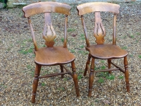 1-Pair of antique Windsor chairs - birch with elm seats