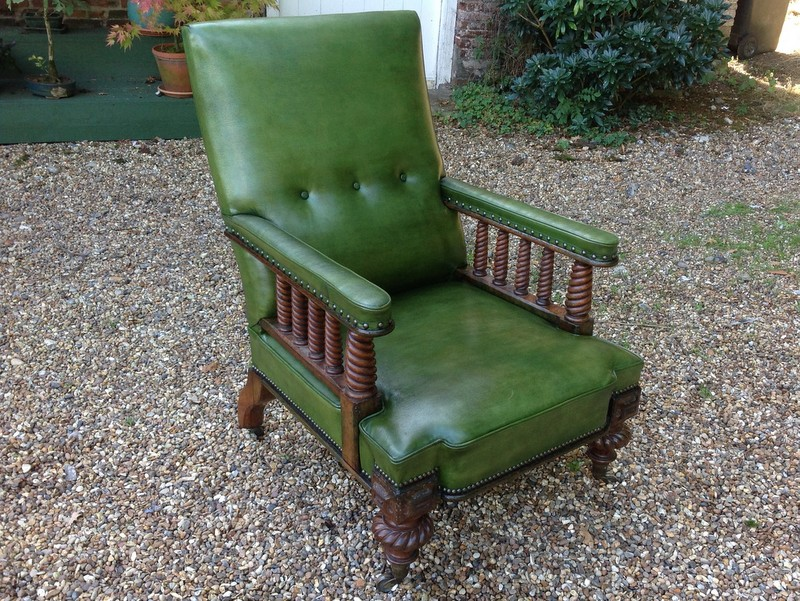 1-Rare-Scottish-walnut-Library-chair-front