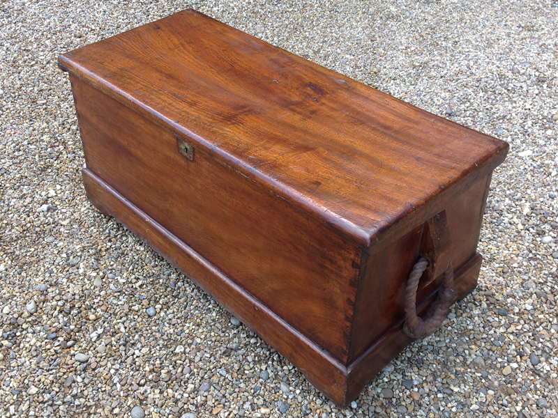 18th Century Camphor Wood Sea Chest With Becket Rope Handles