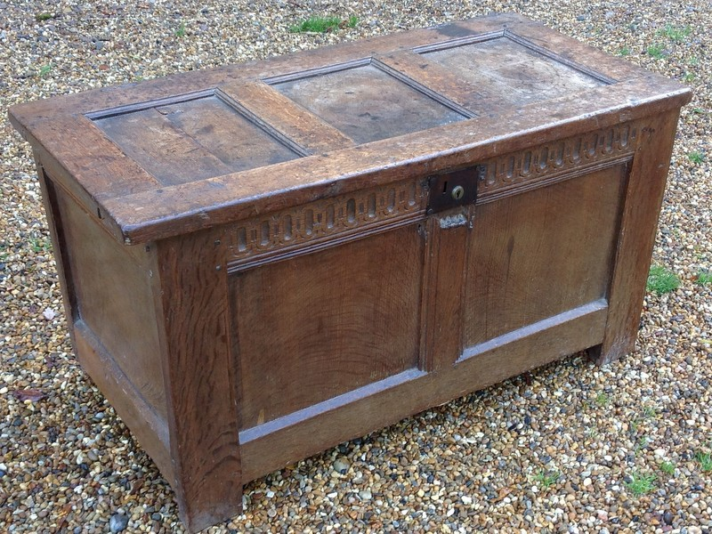 1-small antique oak chest