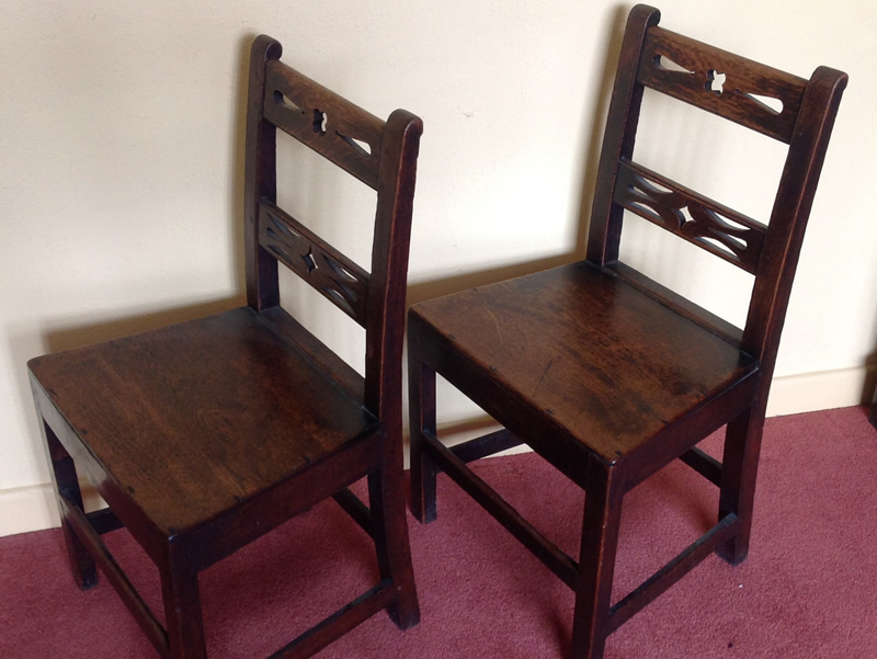 Two 18th century oak side chairs side