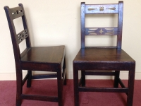 Two 18th century oak side chairs front and side
