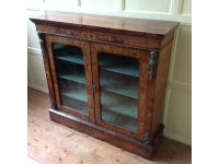 19th Century walnut pier cabinet front and side